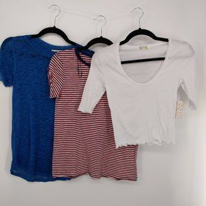Free People 3 Tops Size Small New/NWOT Blue White